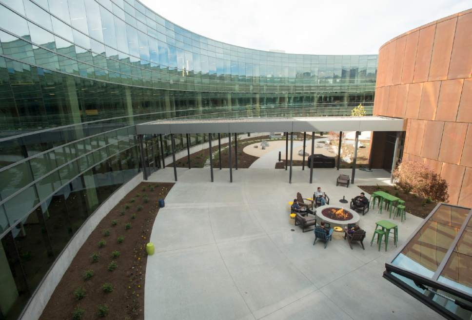 Rick Egan  |  The Salt Lake Tribune  The Overstock.com, 31,000-square-foot Peace Coliseum in Midvale, was designed to appear from the air as a peace sign (due to the indoor and outdoor pathways intersecting its circular layout), and to appear from ground level as a corporate glass-and-concrete version of the Roman Coliseum.  Thursday, October 13, 2016.