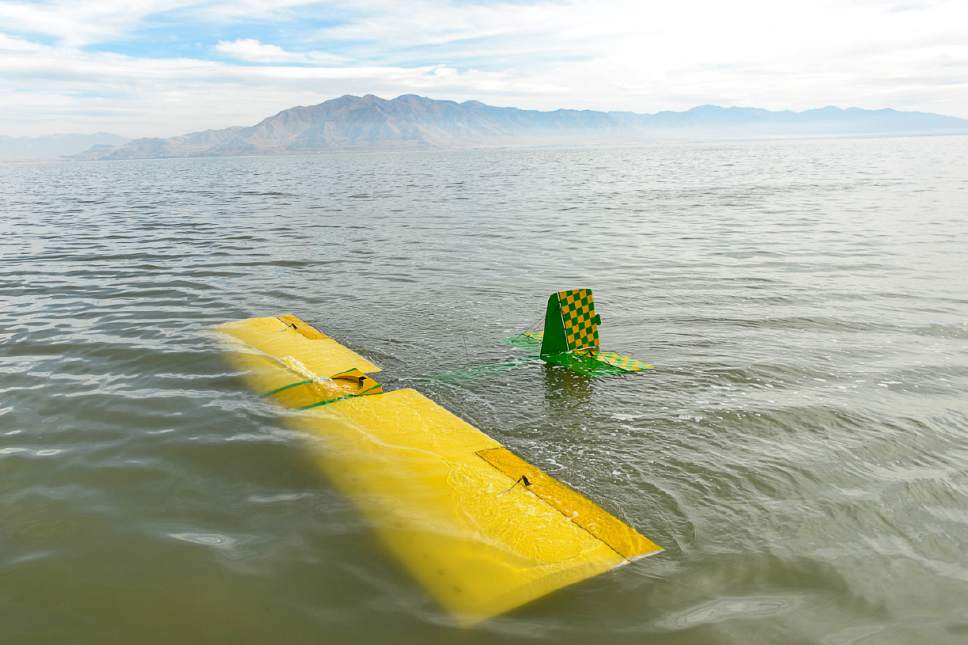 Trent Nelson  |  The Salt Lake Tribune Brine shrimpers working the harvest on the Great Salt Lake rescued a fixed-wing airplane pilot after he crashed the craft near Stansbury Island Thursday October 13, 2016.