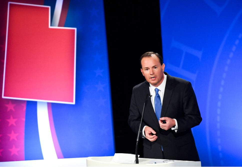 Isaac Hale  |  Pool Photo  Republican candidate Mike Lee answers a question during the U.S. Senate Debate on Wednesday, Oct. 12, 2016 at KBYU studios on the campus of Brigham Young University in Provo.