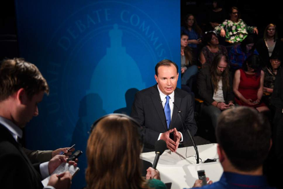 Isaac Hale  |  Pool Photo  Republican candidate Mike Lee speaks to the media after the U.S. Senate Debate on Wednesday, Oct. 12, 2016 at KBYU studios on the campus of Brigham Young University in Provo.