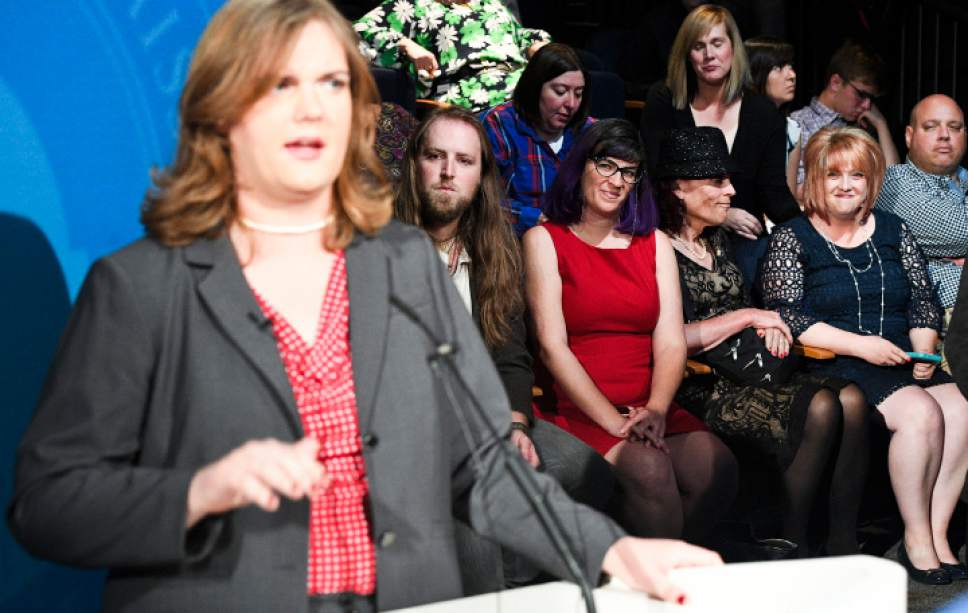 Isaac Hale  |  Pool Photo  Supporters of Democratic candidate Misty Snow watch her as she speaks to the media after the U.S. Senate Debate on Wednesday, Oct. 12, 2016 at KBYU studios on the campus of Brigham Young University in Provo.