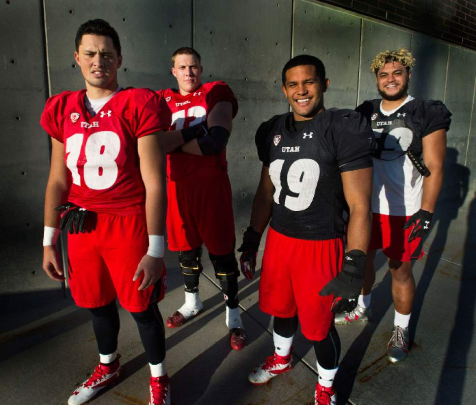 Steve Griffin / The Salt Lake Tribune   University of Utah football players Evan Moeai, Garett Bolles, Sunia Tauteoli and Pasoni Tasini are key players who all attended Snow College in Ephraim, Utah. The players are photographed here at the University of Utah football complex in Salt Lake City Tuesday October 11, 2016.