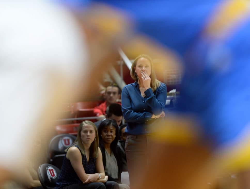 Steve Griffin  |  The Salt Lake Tribune   University of Utah head basketball coach Lynne Roberts as the Utes battle the Bruins during basketball game at the Huntsman Center in Salt Lake City, Sunday, January 31, 2016.