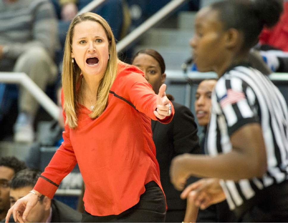 Rick Egan  |  The Salt Lake Tribune  First-year Utah head coach Lynne Roberts pleads with the referee, in basketball action, BYU vs. Utah, in the Marriott Center, Saturday, December 12, 2015.
