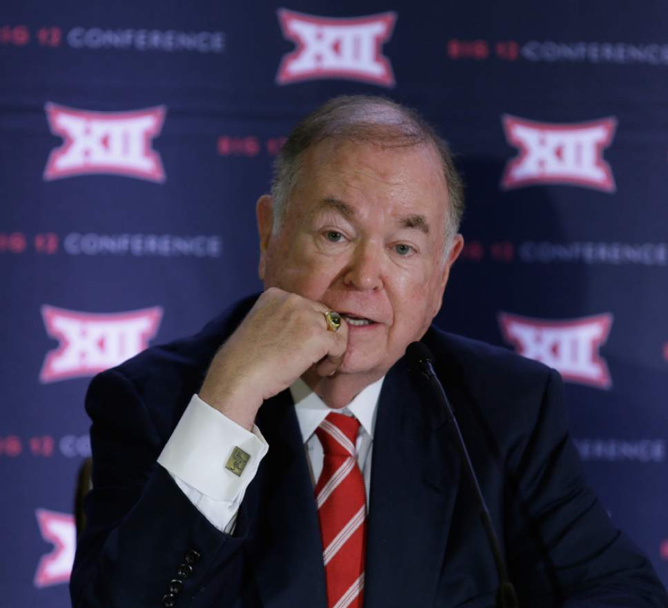 FILE - In this June 2, 2016, file photo, University of Oklahoma President David Boren speak to reporters after the second day of the Big 12 sports conference meetings in Irving, Texas. The Big 12 board of directors meets Monday, Oct. 17, 2016, in Dallas and the topic of expansion will be addressed. Not necessarily decided, but definitely addressed. (AP Photo/LM Otero, File)