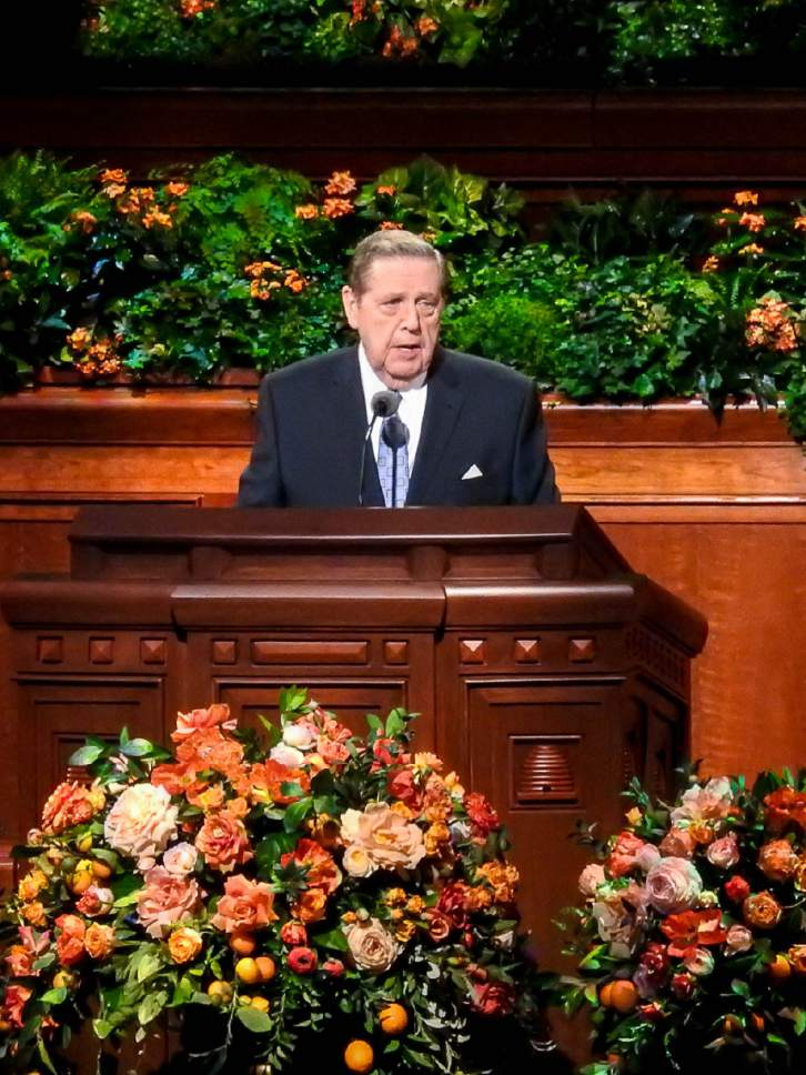 Trent Nelson  |  The Salt Lake Tribune Jeffrey R. Holland speaks at the General Priesthood Session of the LDS Church's 186th Semiannual General Conference in Salt Lake City, Saturday October 1, 2016.