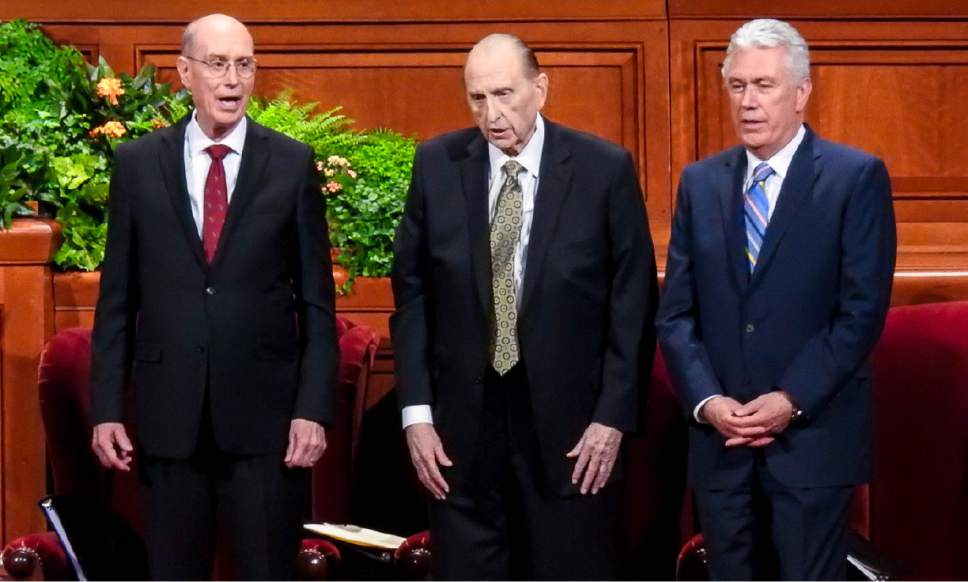Trent Nelson  |  The Salt Lake Tribune The First Presidency of the LDS Church, Henry B. Eyring, President Thomas S. Monson and Dieter F. Uchtdorf, sing a hymn at the General Priesthood Session of the LDS Church's 186th Semiannual General Conference in Salt Lake City earlier this month.