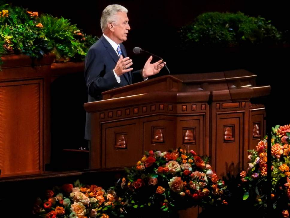 Trent Nelson  |  The Salt Lake Tribune Dieter F. Uchtdorf speaks at the General Priesthood Session of the LDS Church's 186th Semiannual General Conference in Salt Lake City, Saturday October 1, 2016.