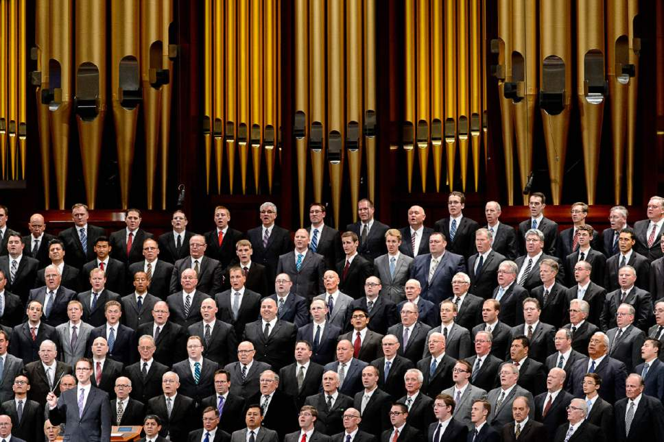 Trent Nelson  |  The Salt Lake Tribune A men's choir at the General Priesthood Session of the LDS Church's 186th Semiannual General Conference in Salt Lake City, Saturday October 1, 2016.
