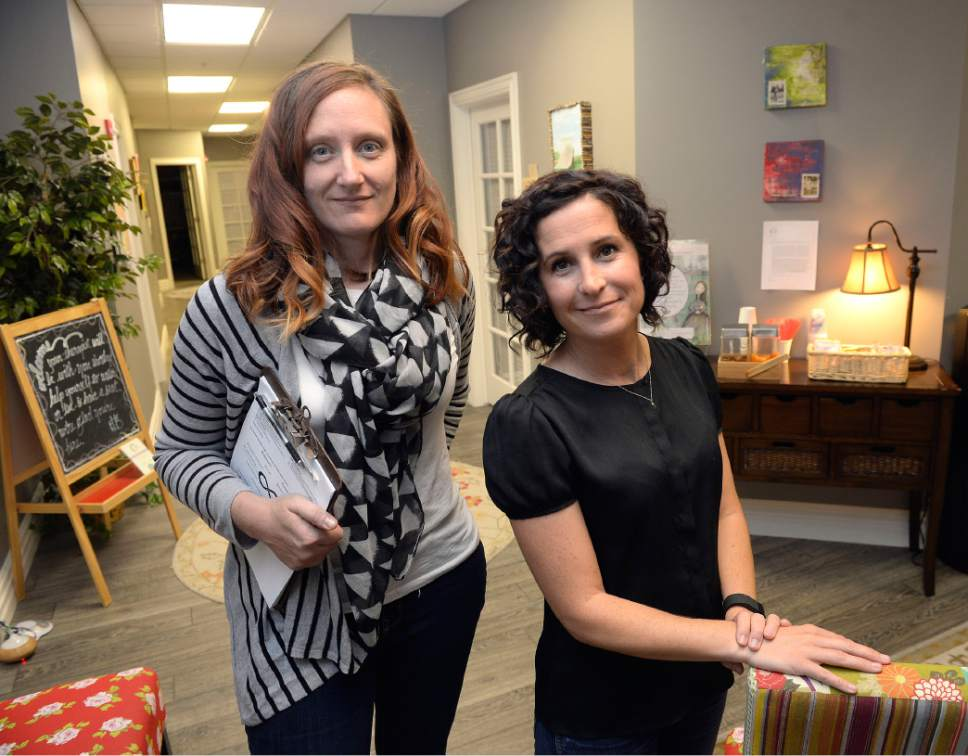 Al Hartmann  |  The Salt Lake Tribune Mary Stanley, Clinical Director, Art Therapist, left, and Kristin Hodson, Founder, Executive Director, run the Healing Group, a counseling center that focuses on sexuality and intimacy as well as postpartum depression.