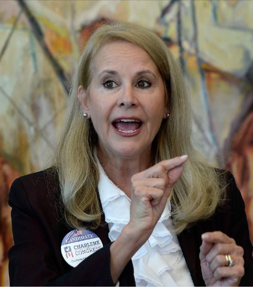 Al Hartmann  |  The Salt Lake Tribune Charlene Albarran, Democratic nominee in the 2nd Congressional District speaks with the Salt Lake Tribune editorial board Monday September 26.