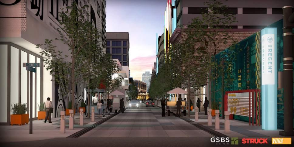 Courtesy of Salt Lake City View of Regent Street form Gallivan.
