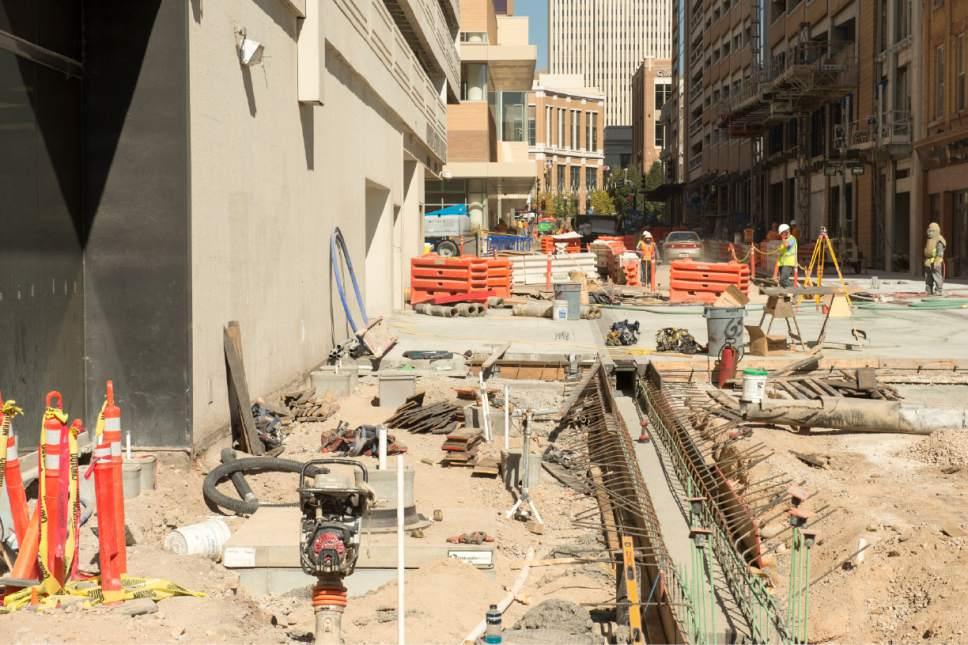 Rick Egan  |  The Salt Lake Tribune  Construction on Regent Street, Thursday, October 13, 2016.