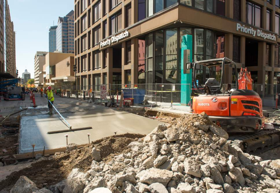 Rick Egan  |  The Salt Lake Tribune  Construction on Regent Street and 100 South, Thursday, October 13, 2016.