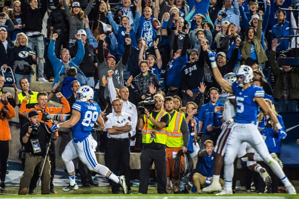 Chris Detrick  |  The Salt Lake Tribune Brigham Young Cougars tight end Tanner Balderree (89) scores the game-winning touchdown during the game at LaVell Edwards Stadium Saturday October 15, 2016. Brigham Young Cougars defeated Mississippi State Bulldogs 28-21in double overtime.