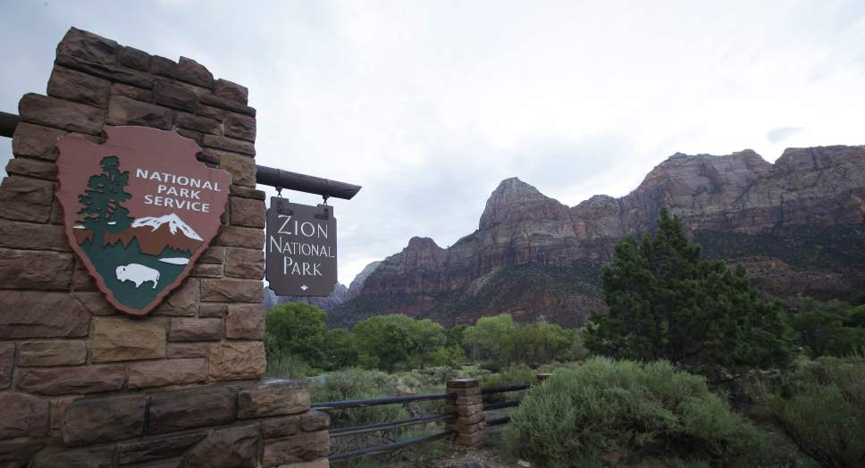 FILE - This Sept. 15, 2015, file photo, shows Zion National Park near Springdale, Utah. Officials at Zion National Park have scheduled a series of public meetings to discuss challenges facing the park as it continues to draw record numbers of visitors. (AP Photo/Rick Bowmer, File)