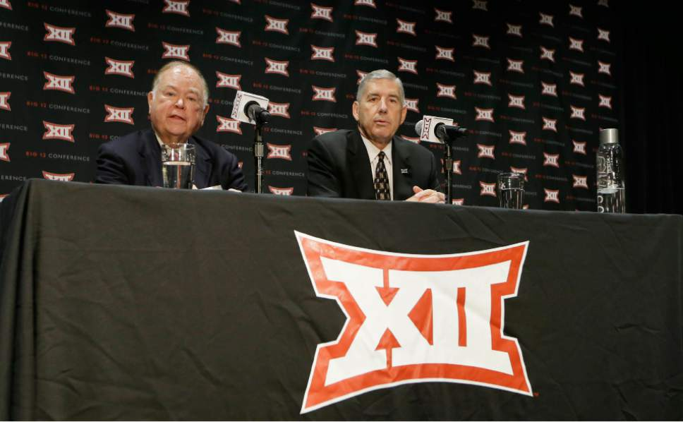 Big 12 Commissioner Bob Bowlsby, right, and Oklahoma President David Boren speak to reporters after The Big 12 Conference meeting in Grapevine, Texas, Monday, Oct. 17, 2016. The Big 12 Conference has decided against expansion from its current 10 schools after three months of analyzing, vetting and interviewing possible new members. (AP Photo/LM Otero)