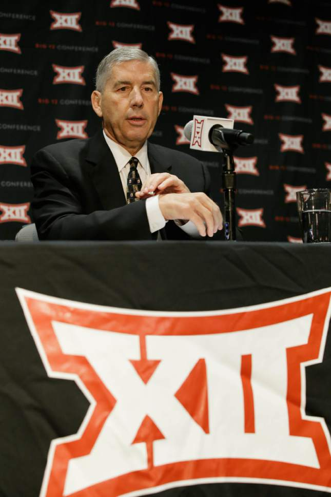 Big 12 Commissioner Bob Bowlsby speaks to reporter after The Big 12 Conference meeting in Grapevine, Texas, Monday, Oct. 17, 2016. The Big 12 Conference has decided against expansion from its current 10 schools after three months of analyzing, vetting and interviewing possible new members. (AP Photo/LM Otero)