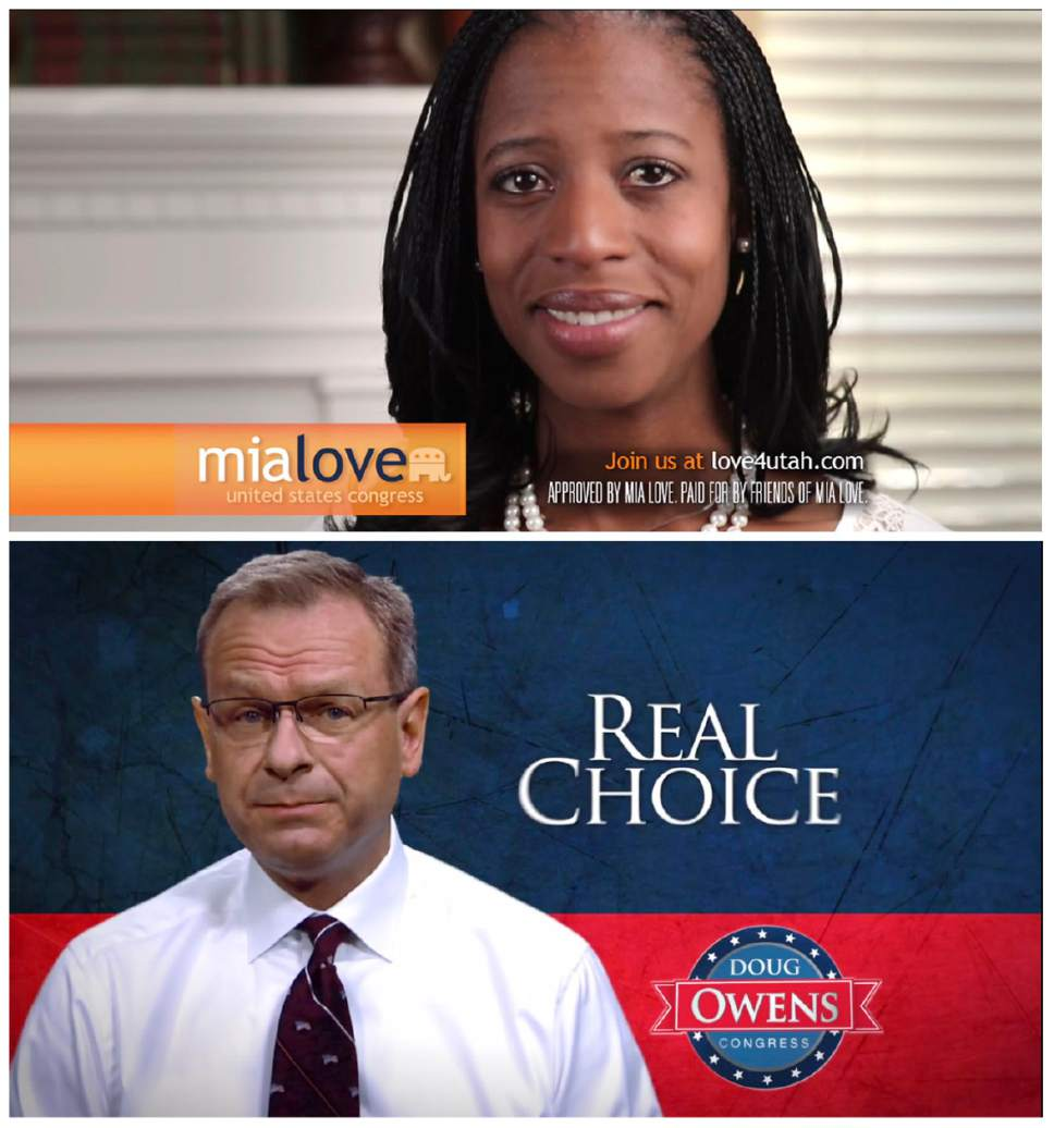 | Courtesy   Republican Mia Love and Democrat Doug Owens release their final ads before the 2014 election.
