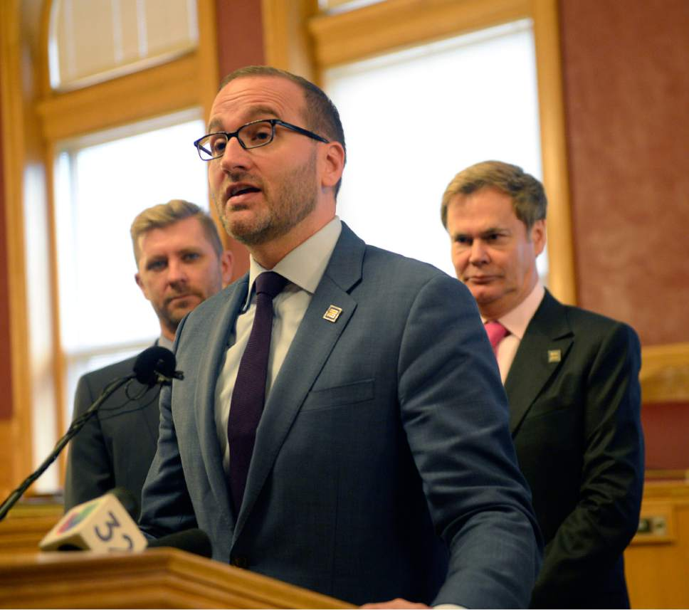 Al Hartmann  |  The Salt Lake Tribune Human Rights Campaign president Chad Griffin speaks at the City-County Building in Salt Lake City Monday October 17 to announce the city's earning a better than average score among U.S. cities when judged on its policies and practices of including lesbian, gay, bisexual, transgender and queer citizens.  Behind him are Troy Williams, left, and Bruce Bastian with Equality Utah.  The survey conducted by the Human Rights Campaign, the Metropolitan Equality Index is the only national assessment of LGGBTQ inclusion in municipal law and policy.  A record 506 cities were evaluated for the report, with 60 cities earning a perfect score of 100. Salt Lake City earned the highest ranking -- 69 -- among the eight Utah cities included in the survey.