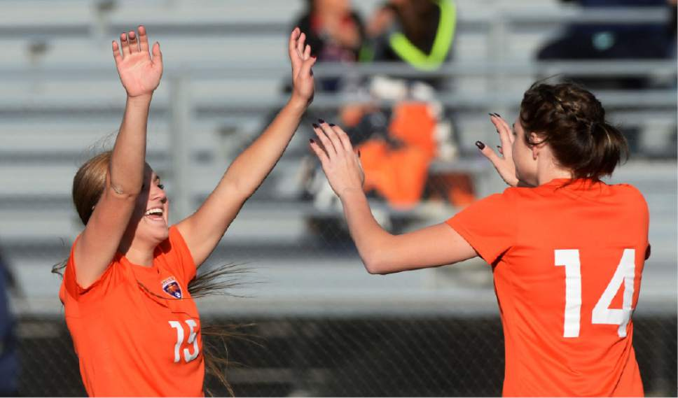 Steve Griffin / The Salt Lake Tribune   Timpview's Alyssa Spackman, left, and Dakota Smith  celebrate Smith's during 4A semifinal soccer match against Sky;line at Juan Diego Catholic High School in Draper Tuesday October 18, 2016.