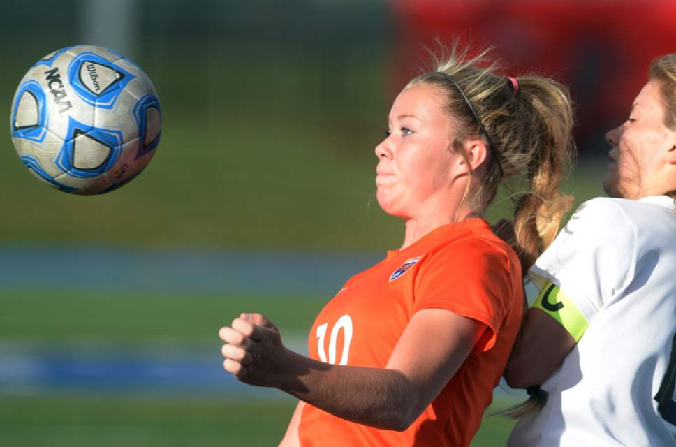 Steve Griffin / The Salt Lake Tribune   Timpview's Lily Haskinsraces to the ball during 4A semifinal soccer match against Skyline at Juan Diego Catholic High School in Draper Tuesday October 18, 2016.