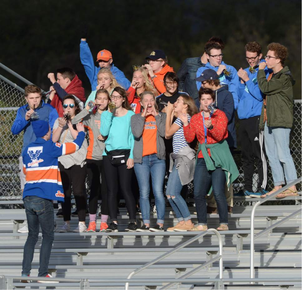 Steve Griffin / The Salt Lake Tribune   The Timpview student body blow their horns as the Thunderbirds score a goal during 4A semifinal soccer match against Skyline at Juan Diego Catholic High School in Draper Tuesday October 18, 2016.