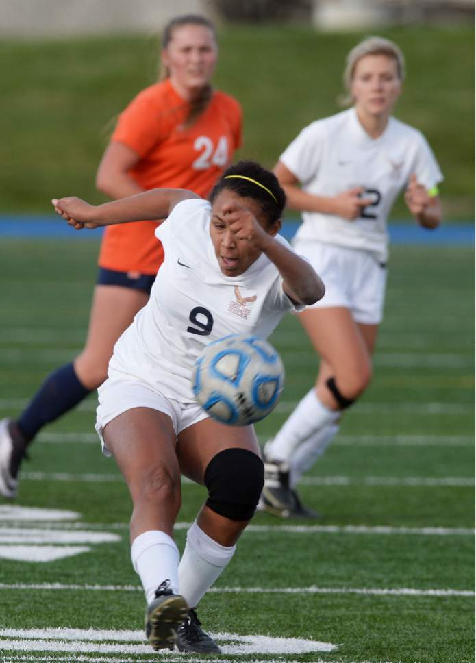Steve Griffin / The Salt Lake Tribune   Skyline's Bergen Meyer controls the ball during 4A semifinal soccer match against Timpview at Juan Diego Catholic High School in Draper Tuesday October 18, 2016.