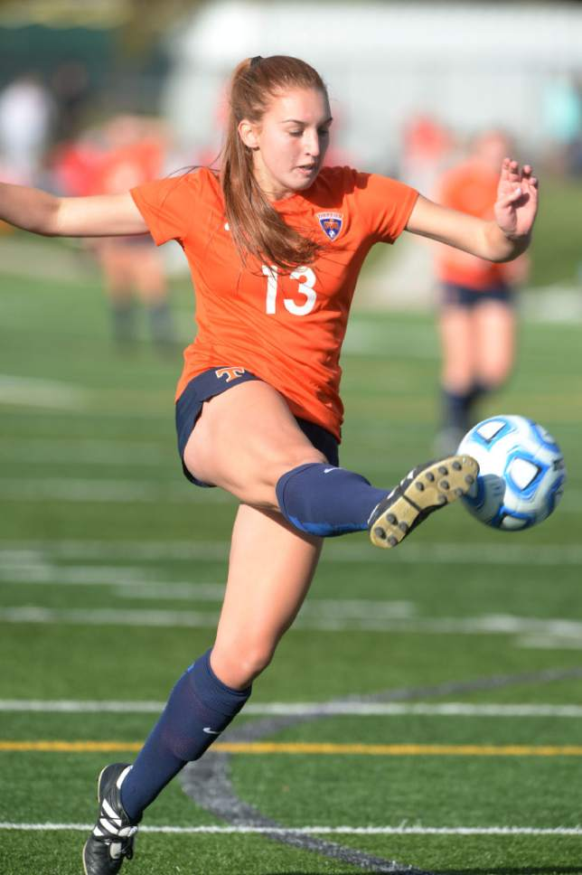 Steve Griffin / The Salt Lake Tribune   Timpview's Jayda Clarke stretches to control the ball during 4A semifinal soccer match at Juan Diego Catholic High School in Draper Tuesday October 18, 2016.