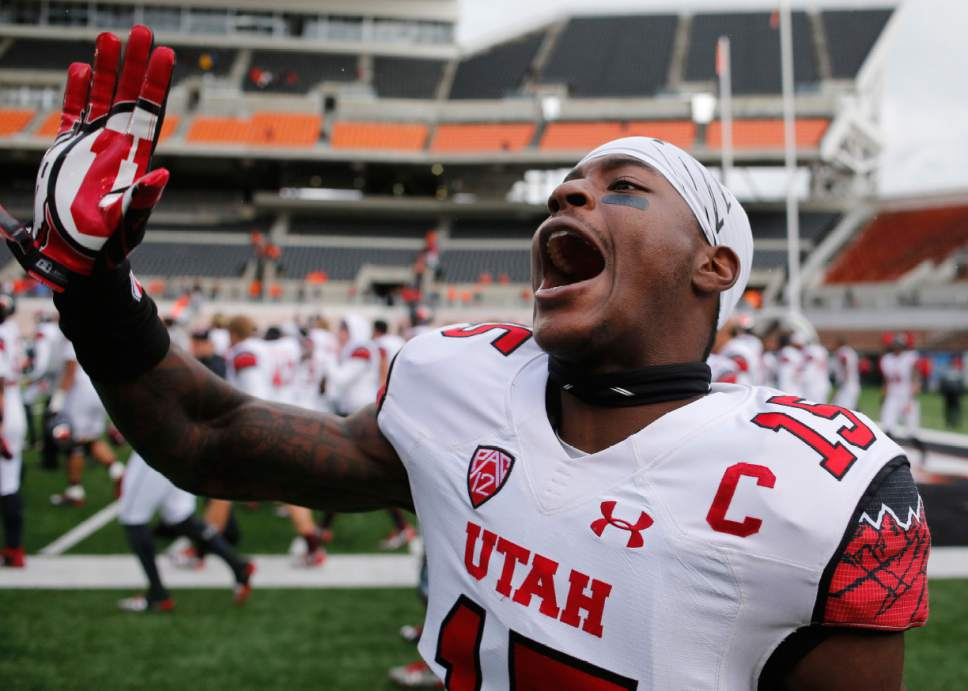 Utah cornerback Dominique Hatfield waves goodbye to fans after Utah's 19-14 victory over Oregon State in an NCAA college football game in Corvallis, Ore., on Saturday, Oct. 15, 2016. (AP Photo/Timothy J. Gonzalez)