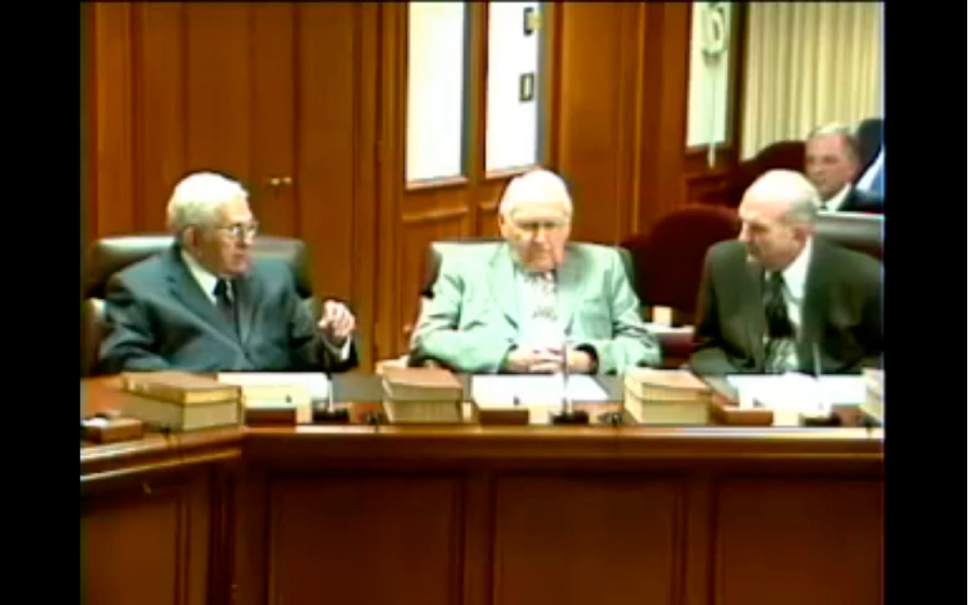 Courtesy image  A screen shot from a leaked video shows Mormon apostles Boyd K. Packer, L. Tom Perry and Russell M. Nelson discussing science and morality.