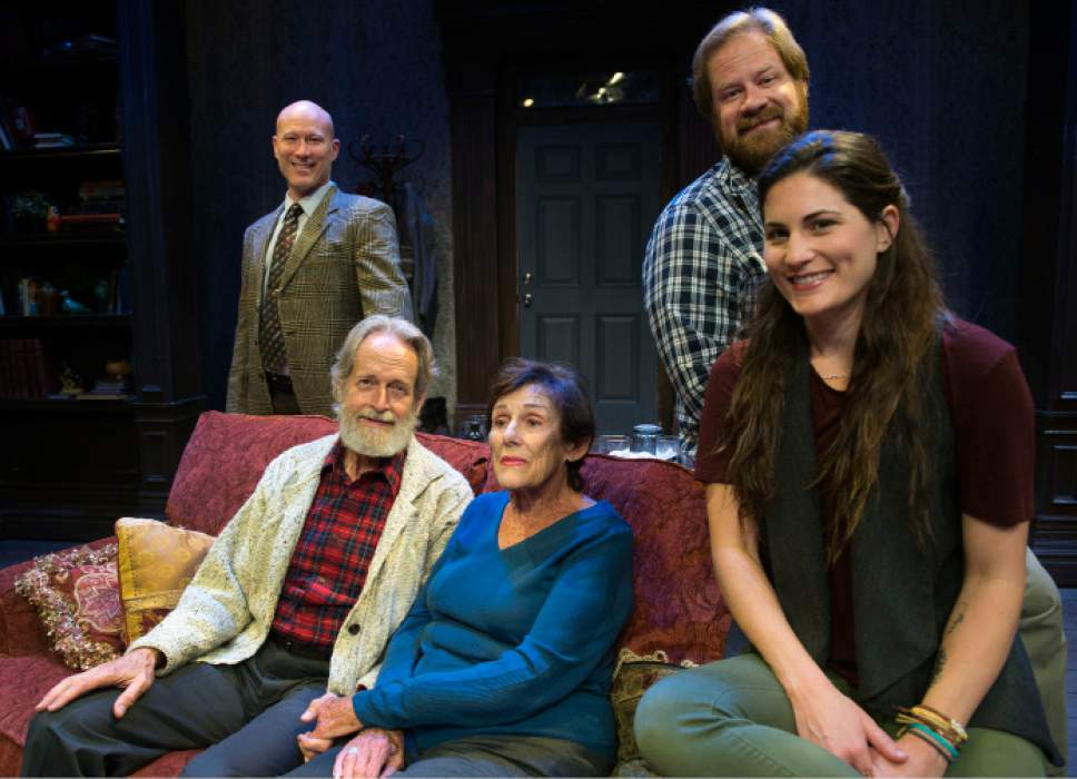 """Steve Griffin / The Salt Lake Tribune   S.A. Rogers, Bob Nelson, Anne Cullimore Decker, Justin Bruse and Andrea Peterson are the cast  SLAC's production of """"Winter"""" in Salt Lake City."""