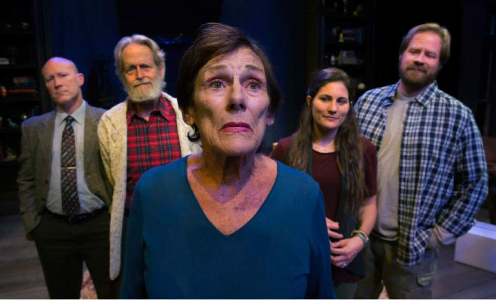 """Steve Griffin / The Salt Lake Tribune   S.A. Rogers, Bob Nelson, Anne Cullimore Decker, Andrea Peterson and Justin Bruse from a scene in SLAC's production of """"Winter"""" in Salt Lake City."""