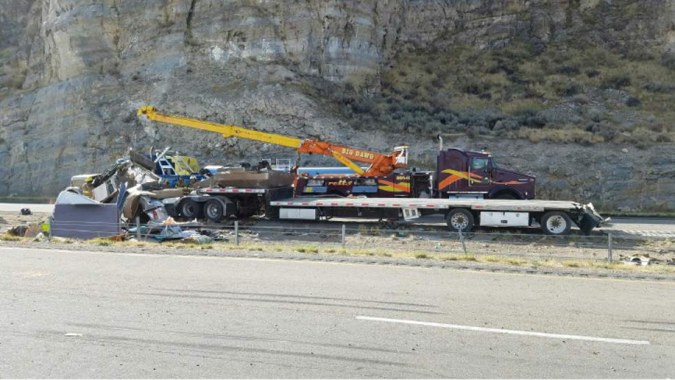 |  courtesy of Utah Highway Patrol  Two drivers were dead and I-80 closed down in both directions west of Salt Lake CIty early Wednesday October 19, 2016 after semis collided.