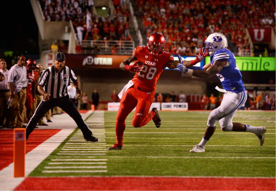 Scott Sommerdorf   |  The Salt Lake Tribune   Utah RB Joe Williams after being benched, runs the ball inside the BYU 10 setting up the game-clinching FG. Utah defeated BYU 20-19, Saturday, September 10, 2016.