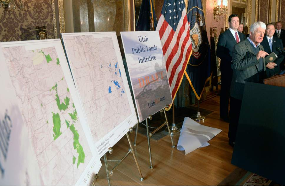 "Al Hartmann  |  Tribune file photo Utah Congressmen Rob  Bishop and Jason Chaffetz with Utah Gov. Gary Herbert unveil a ""discussion draft"" of their Public Lands Initiative bill affecting 18 million acres in seven eastern Utah counties at the State Capitol Tuesday Jan. 20."