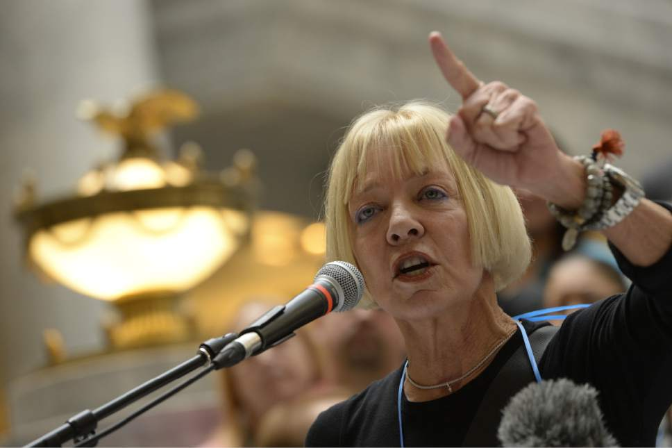 Francisco Kjolseth     Tribune file photo Donna Weinholtz speaking at the Utah Capitol on March 5, 2014. A prosecutor said Wednesday, Oct. 12, 2016, that he intends to file misdemeanor drug charges against Weinholtz, the wife of the Democratic candidate for governor, after federal investigators found about 2 pounds of marijuana at the couple's Utah home.