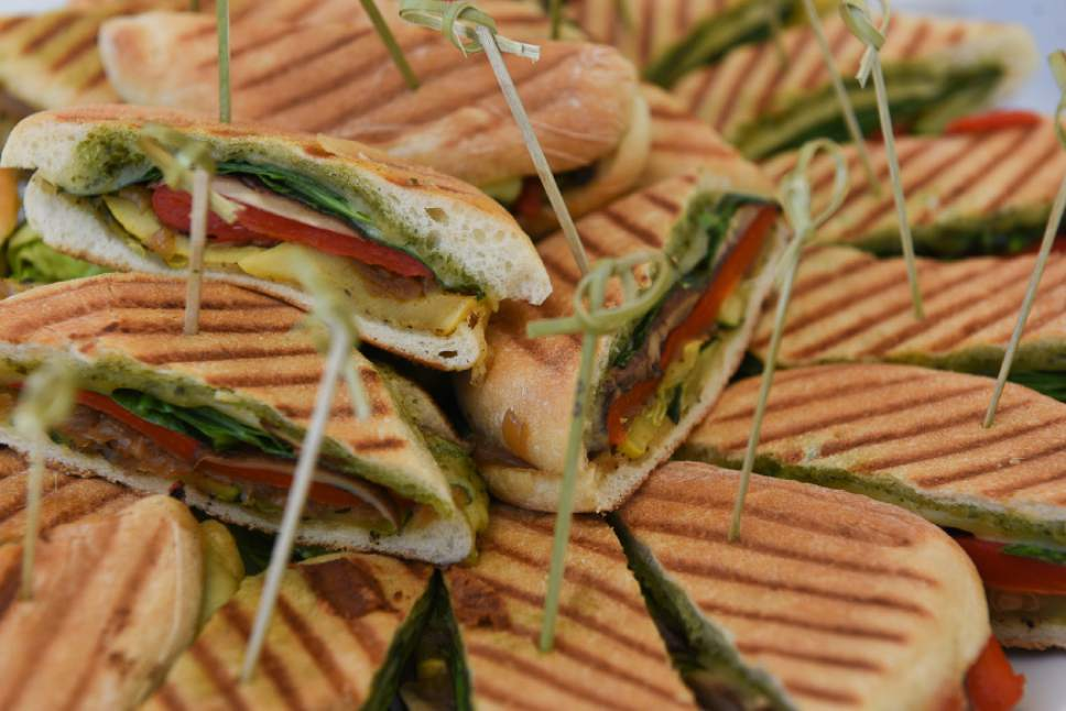 Francisco Kjolseth  |  The Salt Lake Tribune Encore Bistro's diva panini ($9.50): portobello mushroom, roasted red pepper, caramelized onions, grilled zicchini, spinach, havarti and pesto on a panini-grilled ciabatta bun.