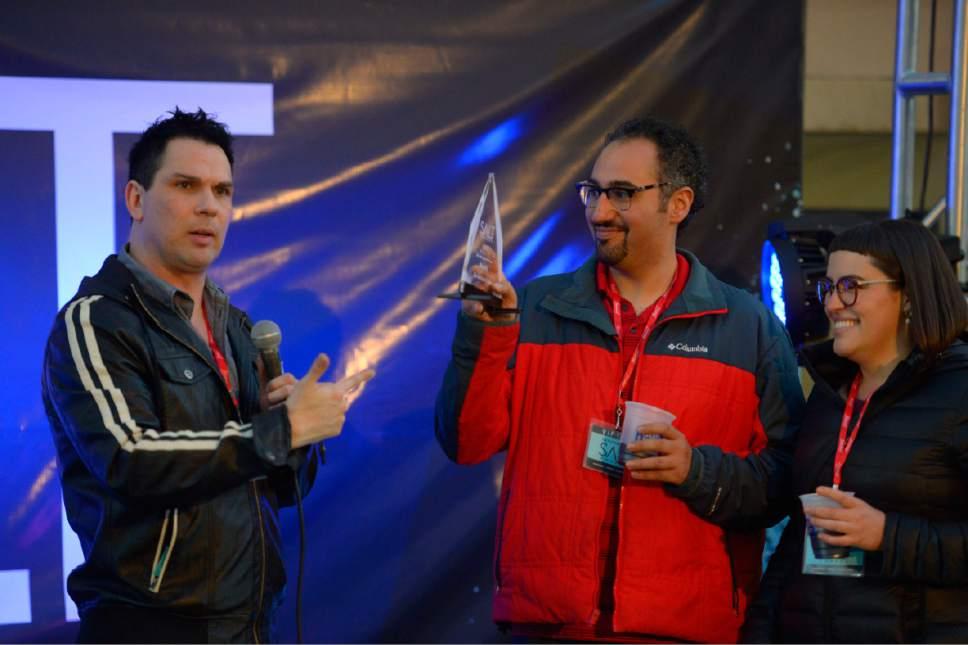 Trent Nelson  |  The Salt Lake Tribune Manoli Katsanevas and his wife, Katrina Cutrubus, accept the 2016 Salt Award for their restaurant Manoli's, selected as the Editors' Pick for best new Greek restaurant. The 2016 Salt Awards ceremony was held at The Gateway in Salt Lake City, Wednesday October 12, 2016.