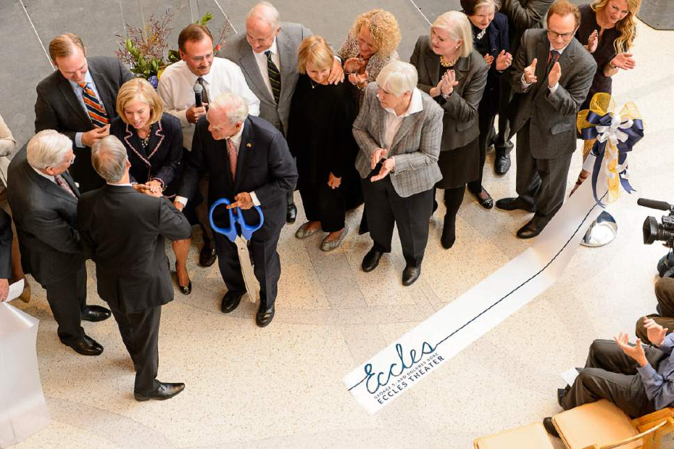 Trent Nelson  |  The Salt Lake Tribune The ribbon is cut by Spencer F. Eccles at the official opening ceremony of the George S. and Dolores DorÈ Eccles Theater in Salt Lake City on Tuesday.
