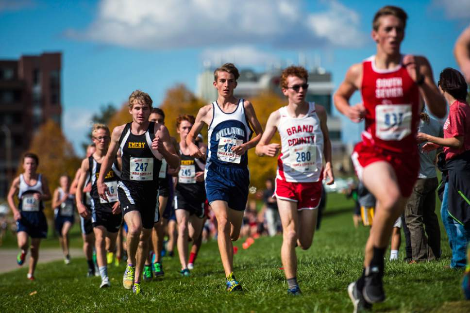 Chris Detrick  |  The Salt Lake Tribune Runners in the 3A division compete during the UHSAA State Cross Country Championships at Sugar House Park Wednesday October 19, 2016.