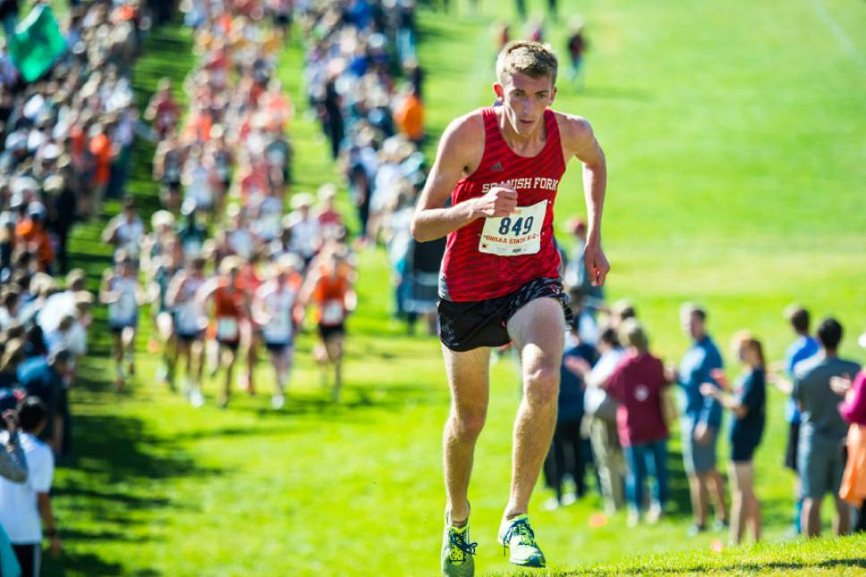 Chris Detrick  |  The Salt Lake Tribune Spanish Fork senior Heston Andersen competes during the UHSAA State Cross Country Championships at Sugar House Park Wednesday October 19, 2016.