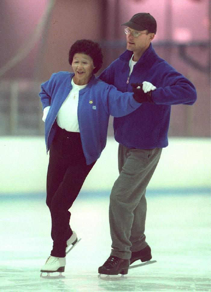 Rick Egan  |  The Salt Lake Tribune  Ida Tateoka skates with her partner Kent  Weigle, former US dance champion and olympic team member on October 1, 1998.
