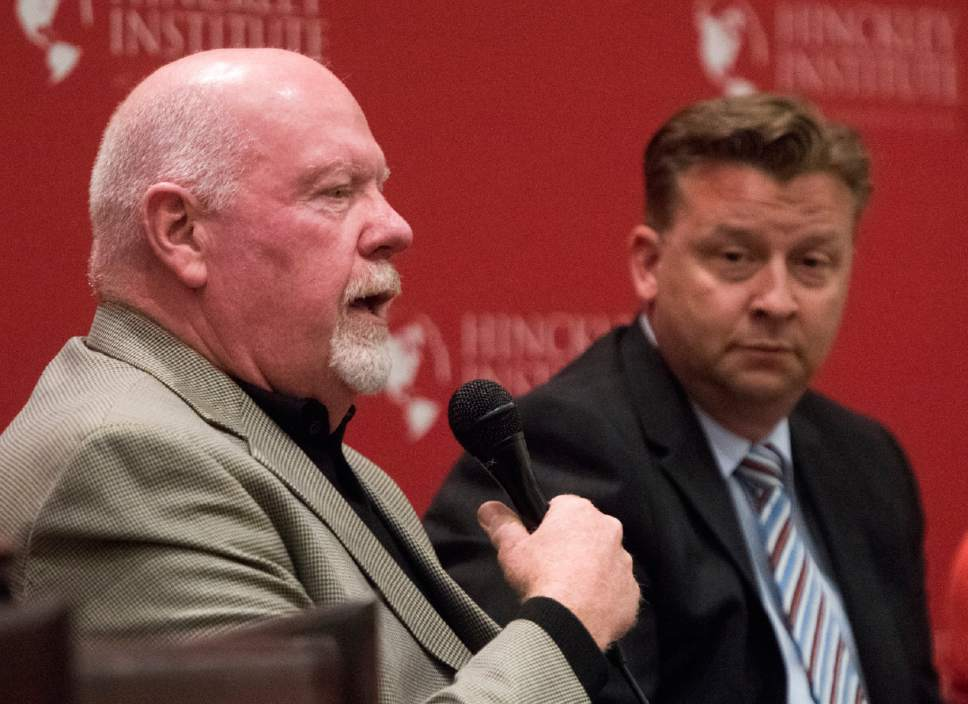 Rick Egan  |  The Salt Lake Tribune  Sen. Howard Stephenson speaks as Sen. Todd Weiler listens, during a panel discussion at the Hinckley Institute, discussing how religion and politics mix, Monday, October 3, 2016.