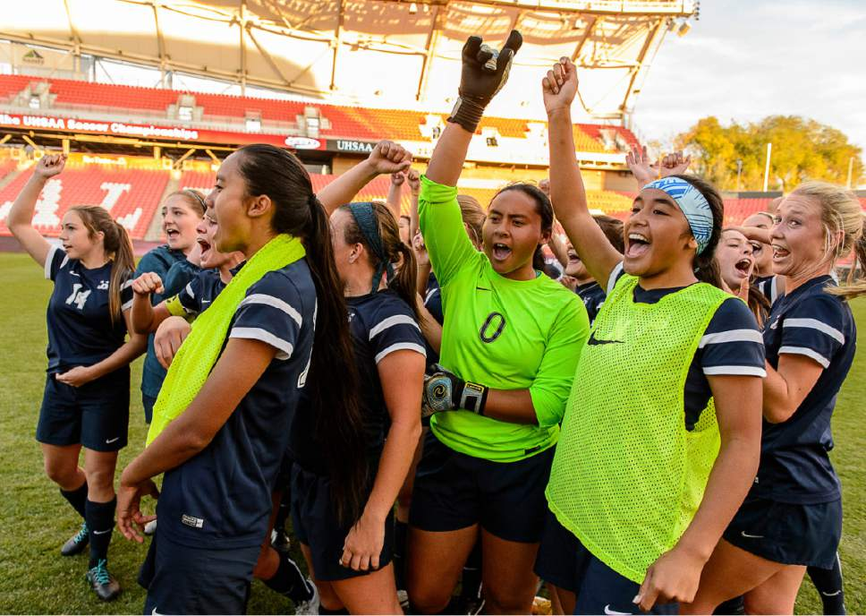 Trent Nelson  |  The Salt Lake Tribune Juan Diego celebrates defeating Logan in the 3A High School Girl's Soccer Championship game at Rio Tinto Stadium in Sandy, Saturday October 22, 2016.