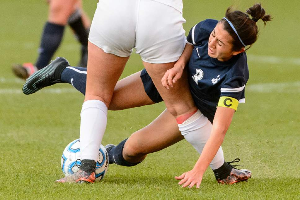 Trent Nelson  |  The Salt Lake Tribune Juan Diego's AnnaMaria DiGeronimo (3) collides with Logan's Zoe Rich as Logan faces Juan Diego in the 3A High School Girl's Soccer Championship game at Rio Tinto Stadium in Sandy, Saturday October 22, 2016.