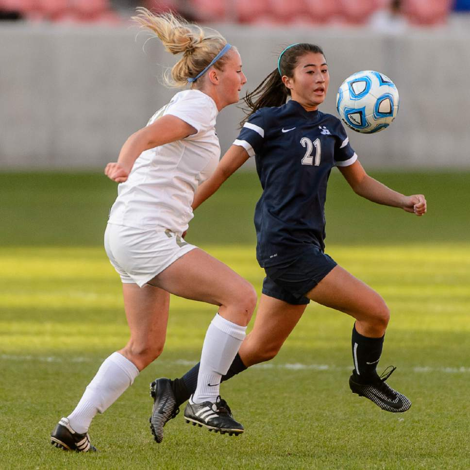 Trent Nelson  |  The Salt Lake Tribune Logan's Megan Hollingsworth and Juan Diego's Sophia DeGeronimo (21) as Logan faces Juan Diego in the 3A High School Girl's Soccer Championship game at Rio Tinto Stadium in Sandy, Saturday October 22, 2016.
