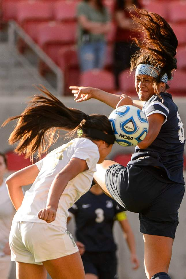 Trent Nelson  |  The Salt Lake Tribune Logan's Zhu Parker and Juan Diego's Daviana Vaka (8) as Logan faces Juan Diego in the 3A High School Girl's Soccer Championship game at Rio Tinto Stadium in Sandy, Saturday October 22, 2016.