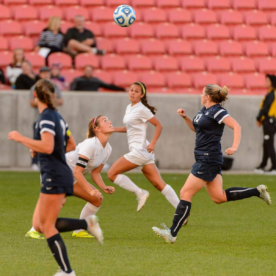 Trent Nelson  |  The Salt Lake Tribune Logan faces Juan Diego in the 3A High School Girl's Soccer Championship game at Rio Tinto Stadium in Sandy, Saturday October 22, 2016.