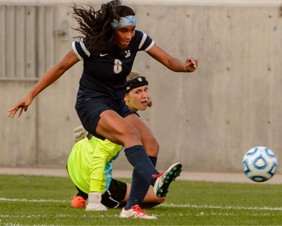 Trent Nelson  |  The Salt Lake Tribune Juan Diego's Daviana Vaka (8) scores as Logan faces Juan Diego in the 3A High School Girl's Soccer Championship game at Rio Tinto Stadium in Sandy, Saturday October 22, 2016.